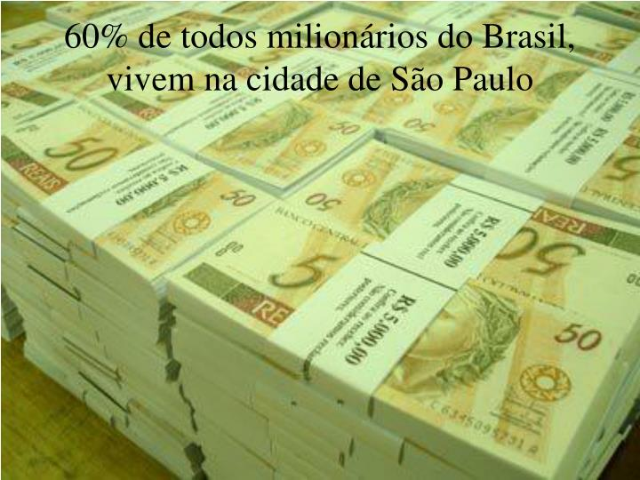 60% de todos milionários do Brasil, vivem na cidade de São Paulo