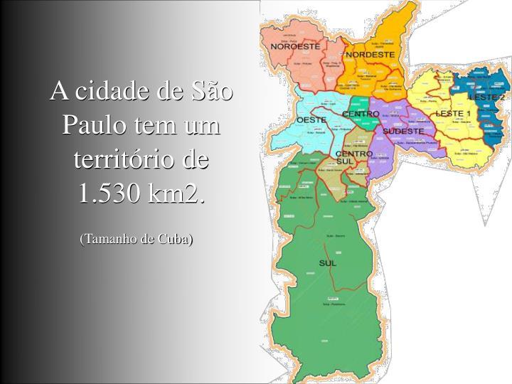 A cidade de São Paulo tem um território de 1.530 km2.
