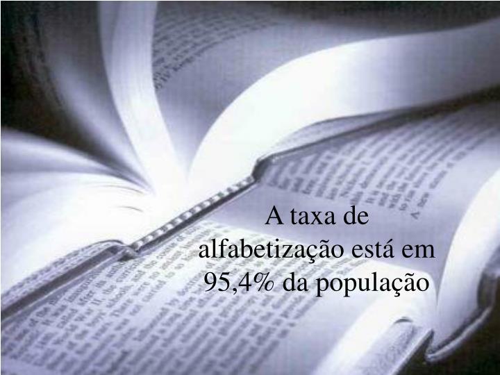 A taxa de alfabetização está em 95,4% da população