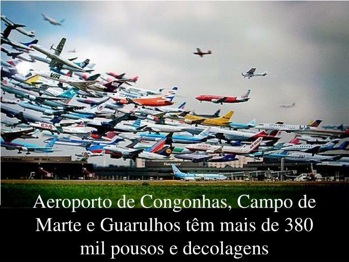 Aeroporto de Congonhas, Campo de Marte e Guarulhos têm mais de 380 mil pousos e decolagens