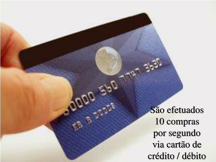 São efetuados 10 compras              por segundo          via cartão de crédito / débito