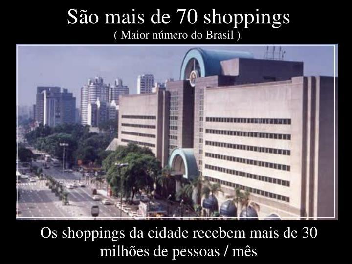 São mais de 70 shoppings