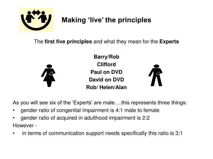 Making 'live' the principles