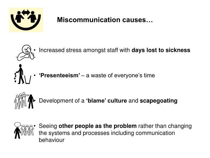 Miscommunication causes…