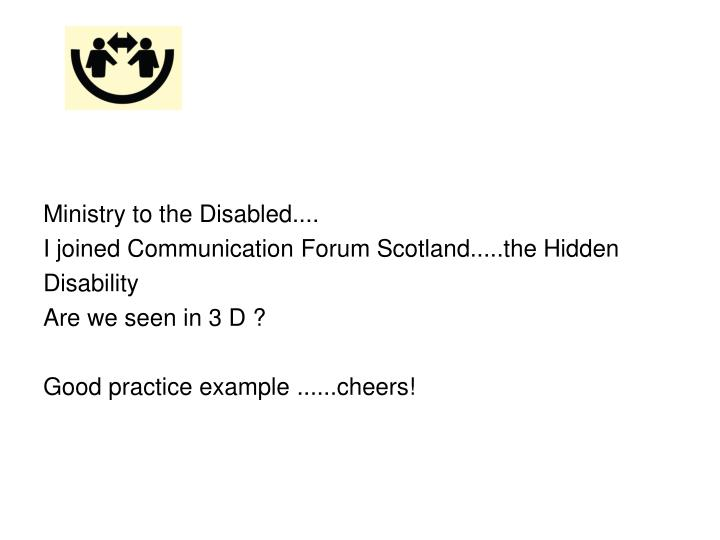 Ministry to the Disabled....