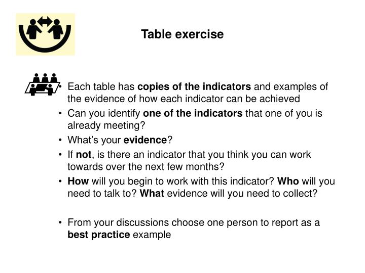 Table exercise