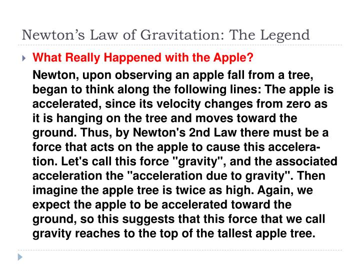 Newton's Law of Gravitation: The Legend