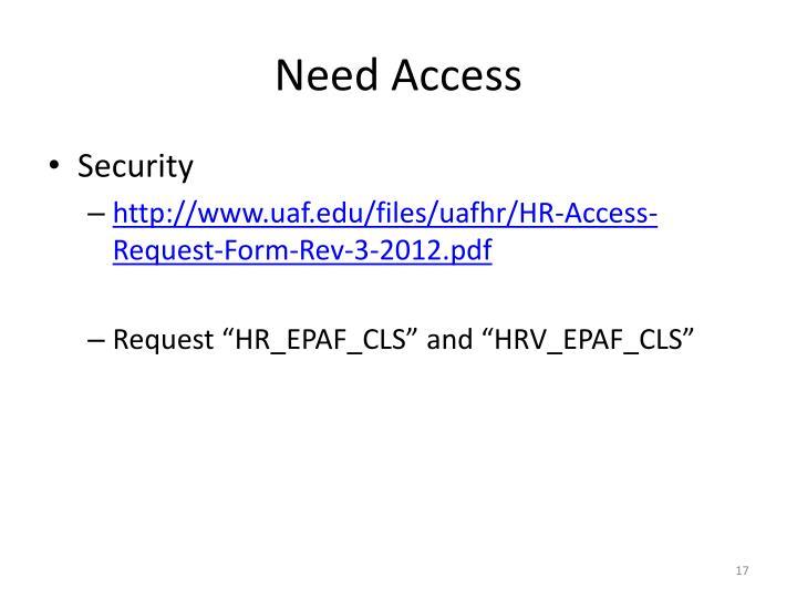 Need Access