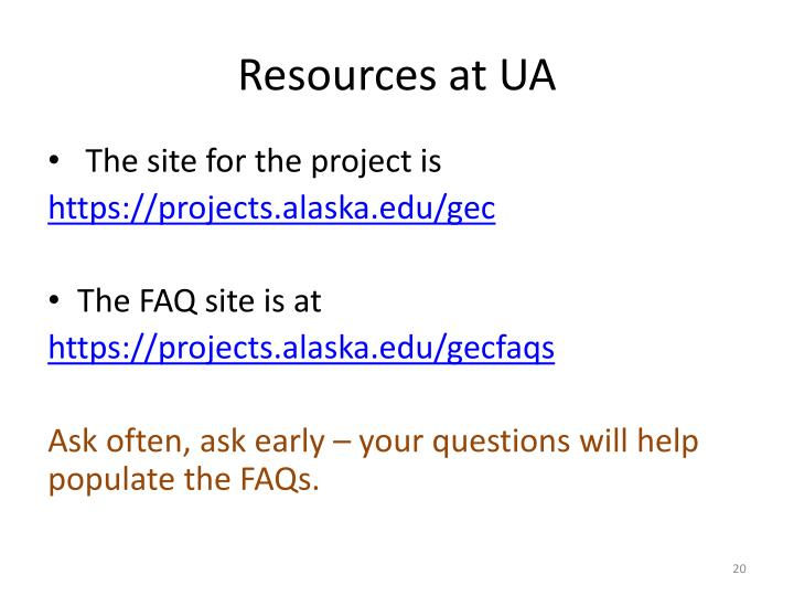 Resources at UA