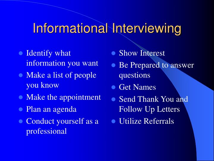 Identify what information you want