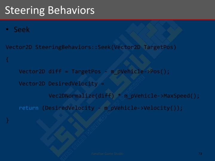 Steering Behaviors