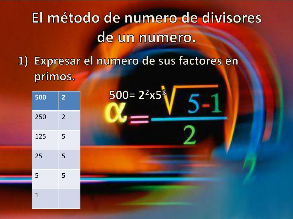 El método de numero de divisores