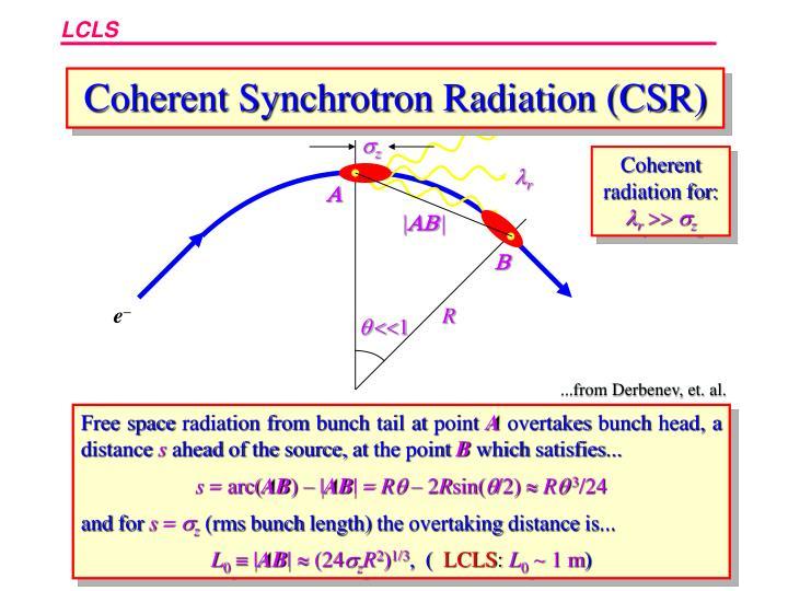 Coherent Synchrotron Radiation (CSR)