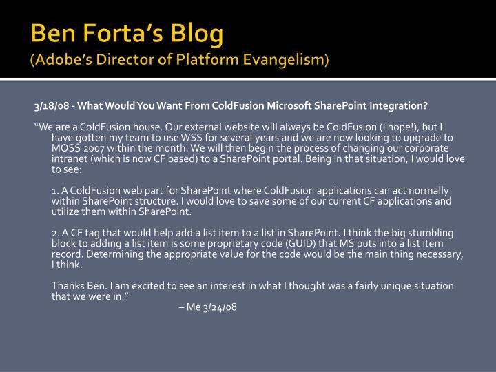 Ben Forta's Blog