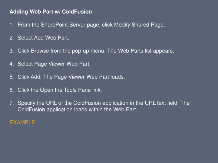 Adding Web Part w/ ColdFusion