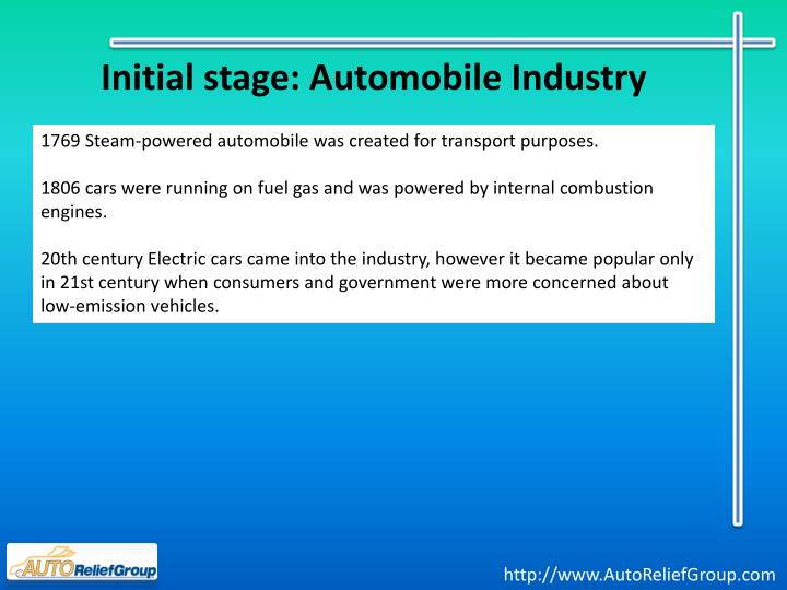 Initial stage automobile industry