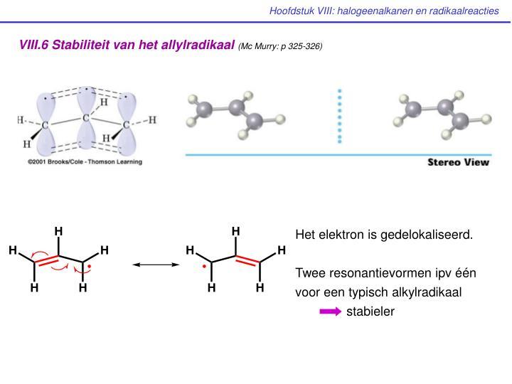VIII.6 Stabiliteit van het allylradikaal