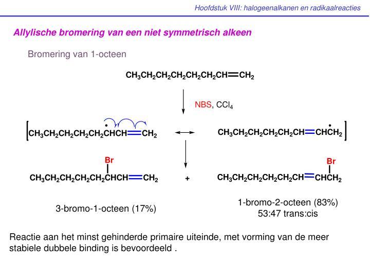 Allylische bromering van een niet symmetrisch alkeen
