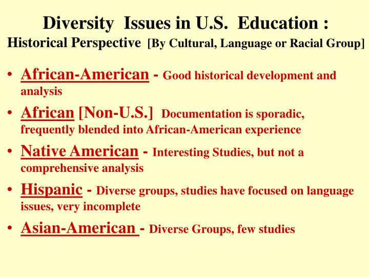 Diversity  Issues in U.S.  Education :