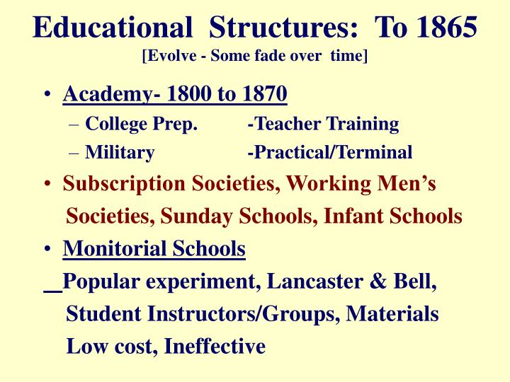 Educational  Structures:  To 1865