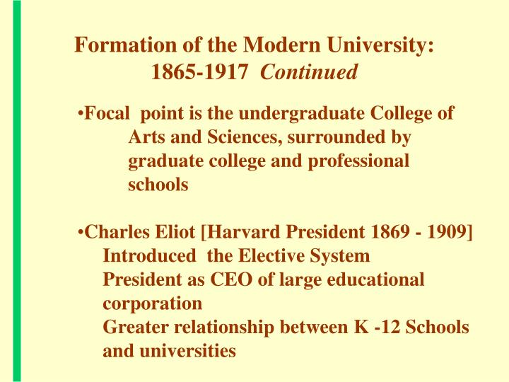 Formation of the Modern University:   1865-1917