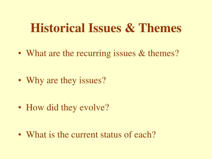 Historical issues themes