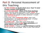 part d personal assessment of this teaching1