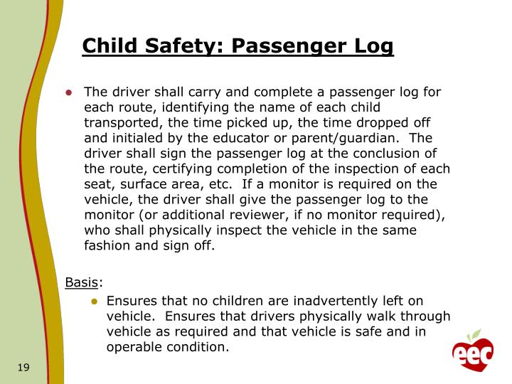 Child Safety: Passenger Log