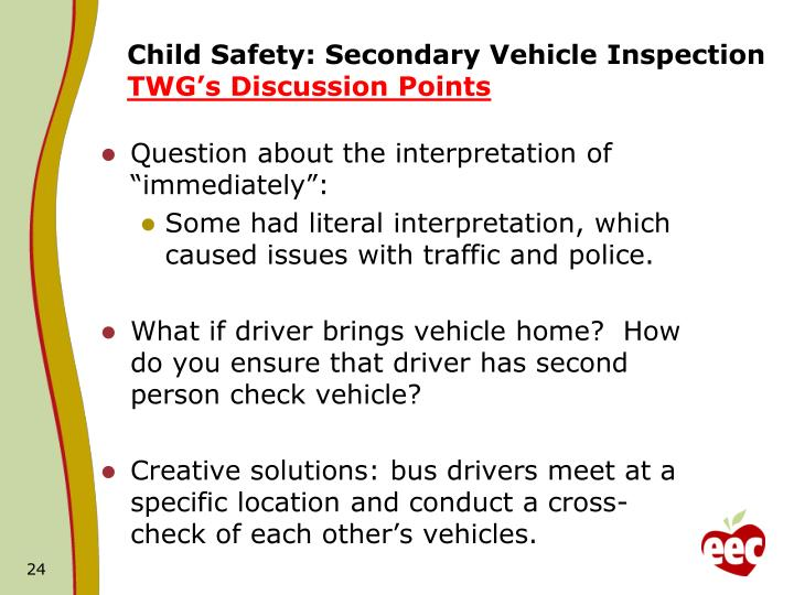 Child Safety: Secondary Vehicle Inspection