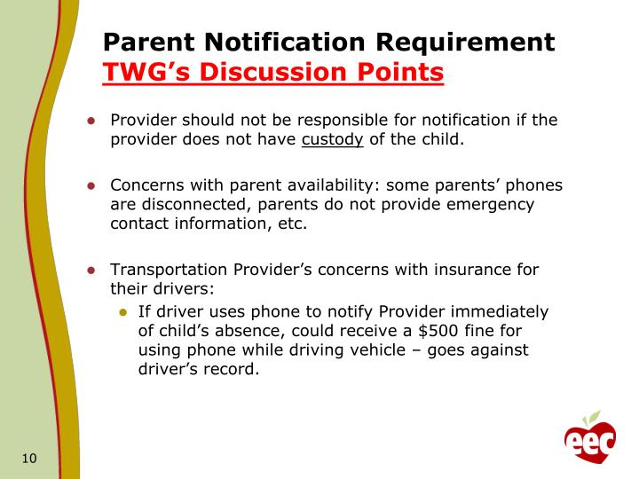 Parent Notification Requirement