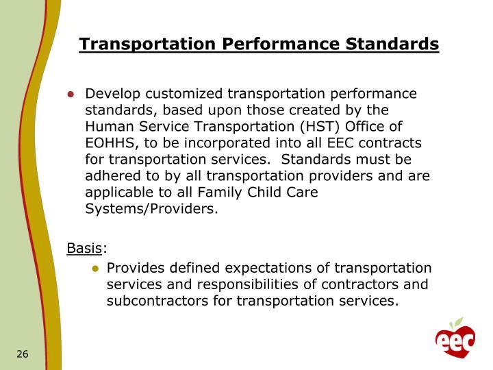 Transportation Performance Standards