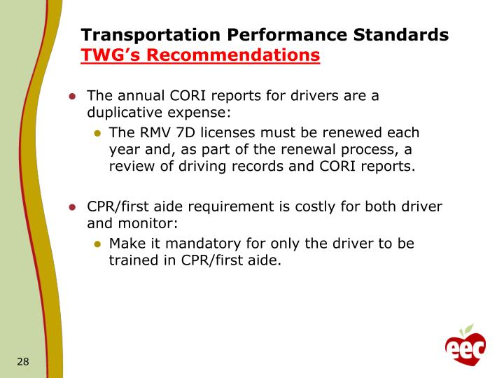 Transportation Performance Standards