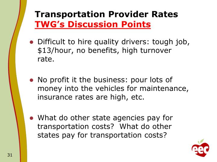 Transportation Provider Rates
