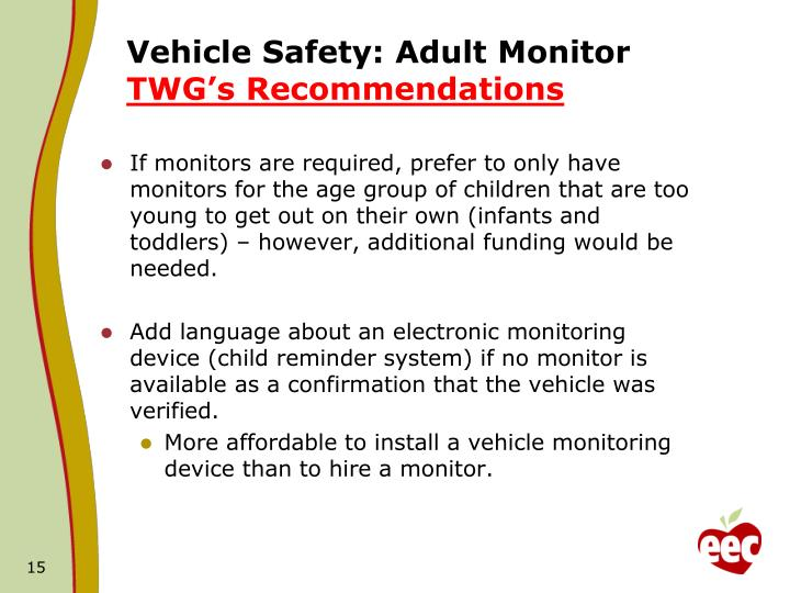 Vehicle Safety: Adult Monitor