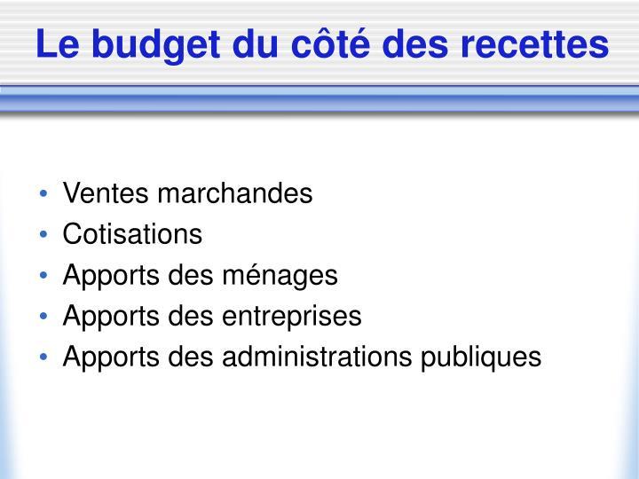 Le budget du côté des recettes