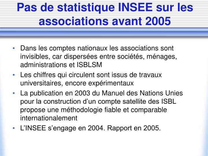 Pas de statistique INSEE sur les associations avant 2005