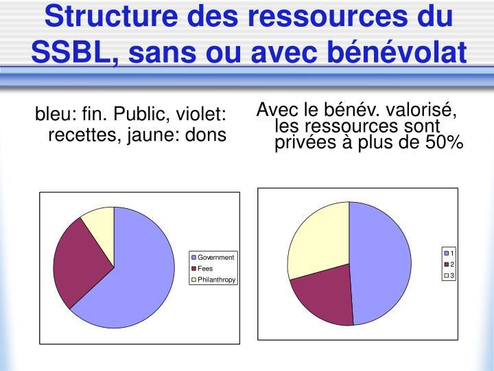 bleu: fin. Public, violet: recettes, jaune: dons