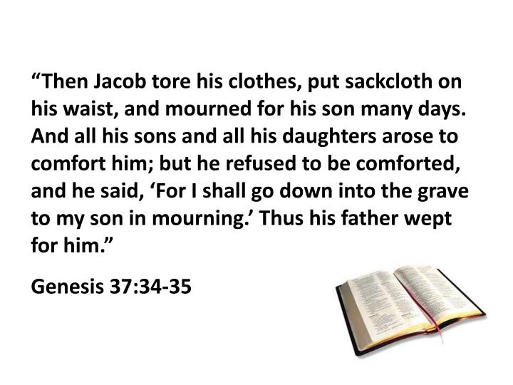 """Then Jacob tore his clothes, put sackcloth on his waist, and mourned for his son many days. And all his sons and all his daughters arose to comfort him; but he refused to be comforted, and he said, 'For I shall go down into the grave to my son in mourning.' Thus his father wept for him."""