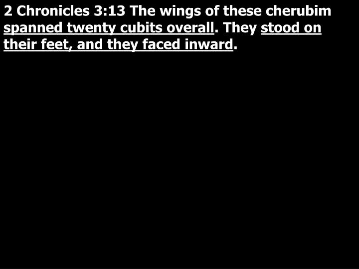 2 Chronicles 3:13 The wings of these cherubim