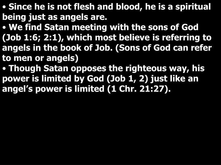 Since he is not flesh and blood, he is a spiritual being just as angels are.
