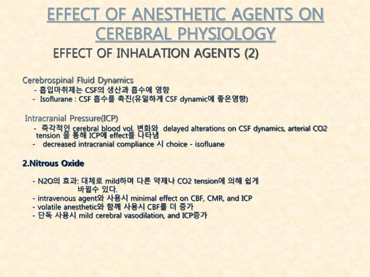 EFFECT OF ANESTHETIC AGENTS ON