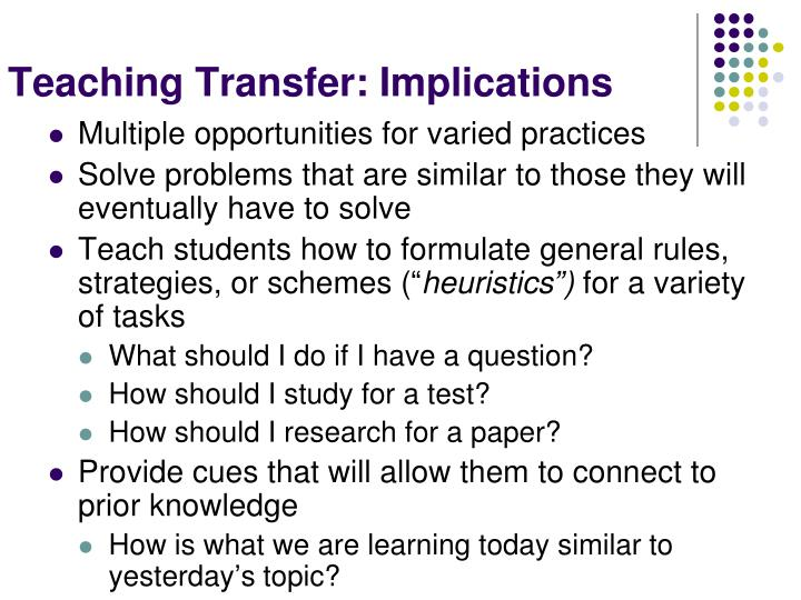 Teaching Transfer: Implications