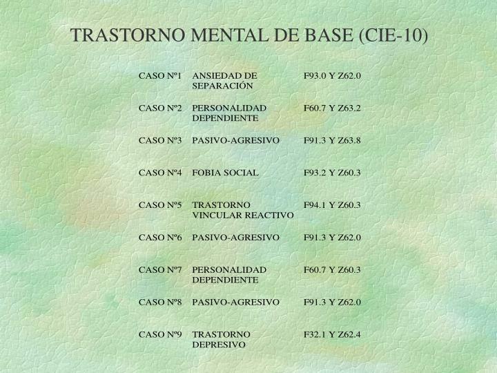 TRASTORNO MENTAL DE BASE (CIE-10)