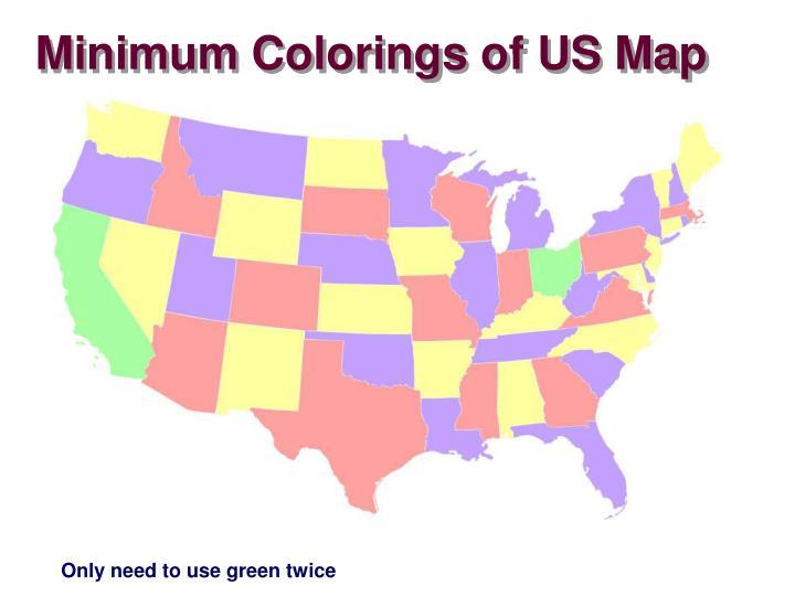 Minimum Colorings of US Map
