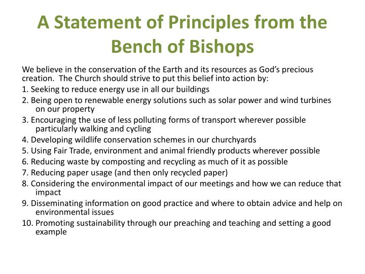 A Statement of Principles from the Bench of Bishops