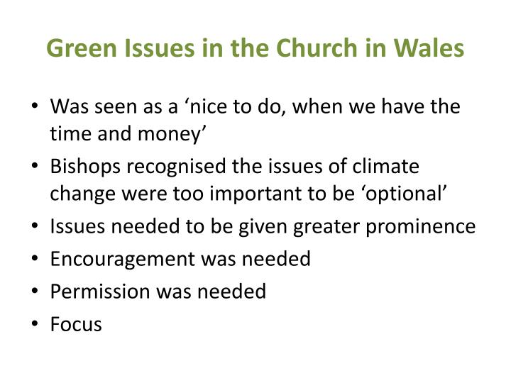 Green Issues in the Church in Wales