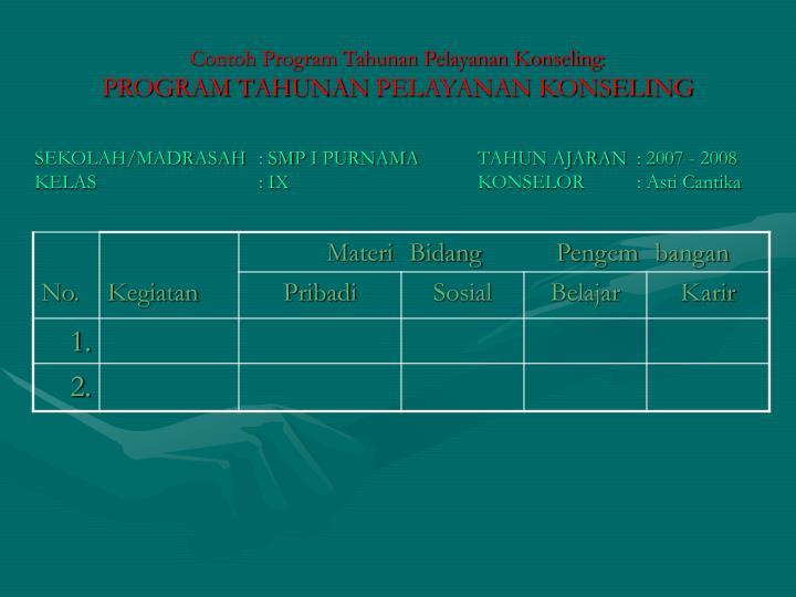 Contoh Program Tahunan Pelayanan Konseling