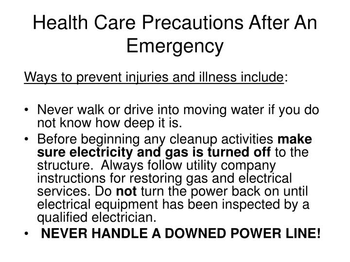 Health Care Precautions After An Emergency