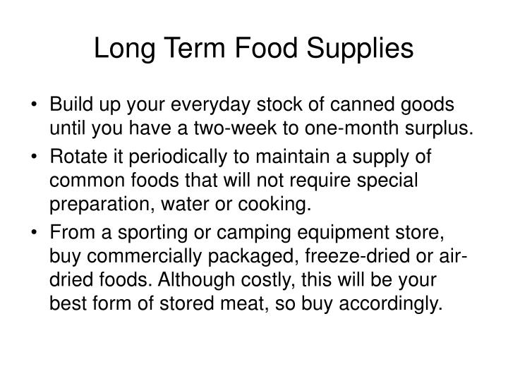 Long Term Food Supplies