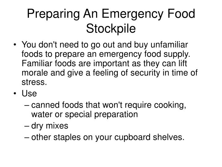 Preparing An Emergency Food Stockpile
